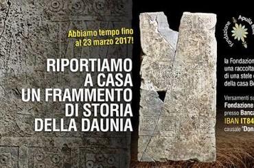 """""""Riportiamo a casa un frammento di storia della Daunia"""", la raccolta fondi per la Stele Daunia"""