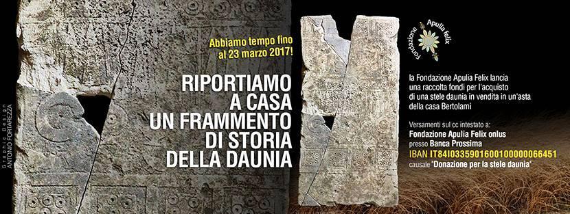 Stele Daunia_cartelloneXcolletta_FondApuliaFelix_FG14032017