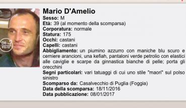 "[Mario D'Amelio - scheda ""Chi l'ha Visto"" Rai3]"