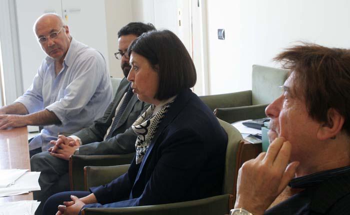 La Soprintendente Francesca Casule con il prof Abbate, prof Ricco e dott Faiella durante la conferenza stampa RITORNO AL CILENTO ANTEPRIMA
