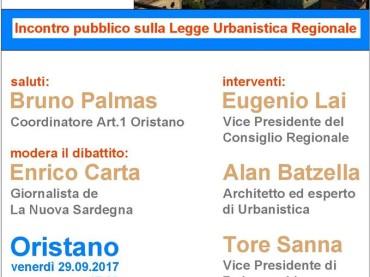 Oristano: il 29 settembre si parla di Legge Urbanistica