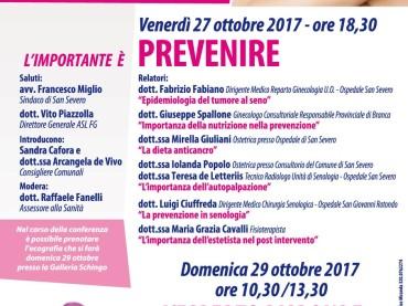 """""""L'importante è prevenire"""" a San Severo venerdì 27 e domenica 29 ottobre alla Galleria Schingo"""