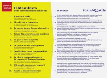 """#cambiostile: già 5 Ministri e 200 parlamentari, con un messaggio ufficiale di sostegno del Presidente Gentiloni, hanno sottoscritto il """"Manifesto della comunicazione non ostile"""""""
