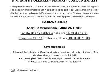Santa Maria de Olearia a Maiori apre sabato e domenica