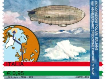 """Emissione francobollo 90° anniversario spedizione dirigibile """"Italia"""" al Polo Nord"""