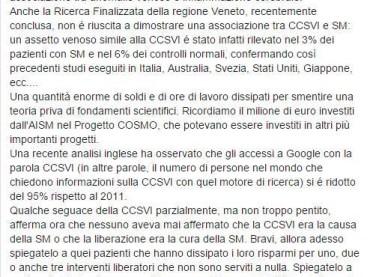 """""""CCSVI GAME OVER"""": l'Associazione CCSVI nella SM chiede chiarimenti sul post pubblicato sul canale Facebook del CeSMuV di Padova"""