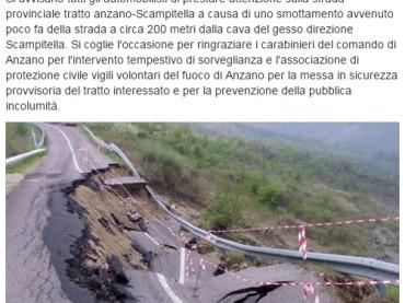Foggia. Crolla parte della strada provinciale tra Anzano di Puglia e Scampitella