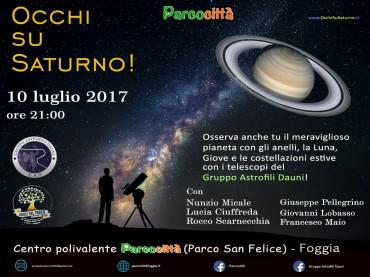 """Foggia, una sera con Saturno a Parcocittà, """"..a riveder le Stelle"""""""