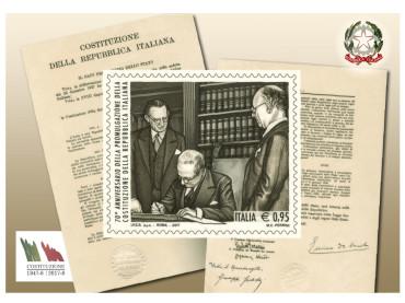Emissione francobollo 70° anniversario promulgazione Costituzione Repubblica Italiana