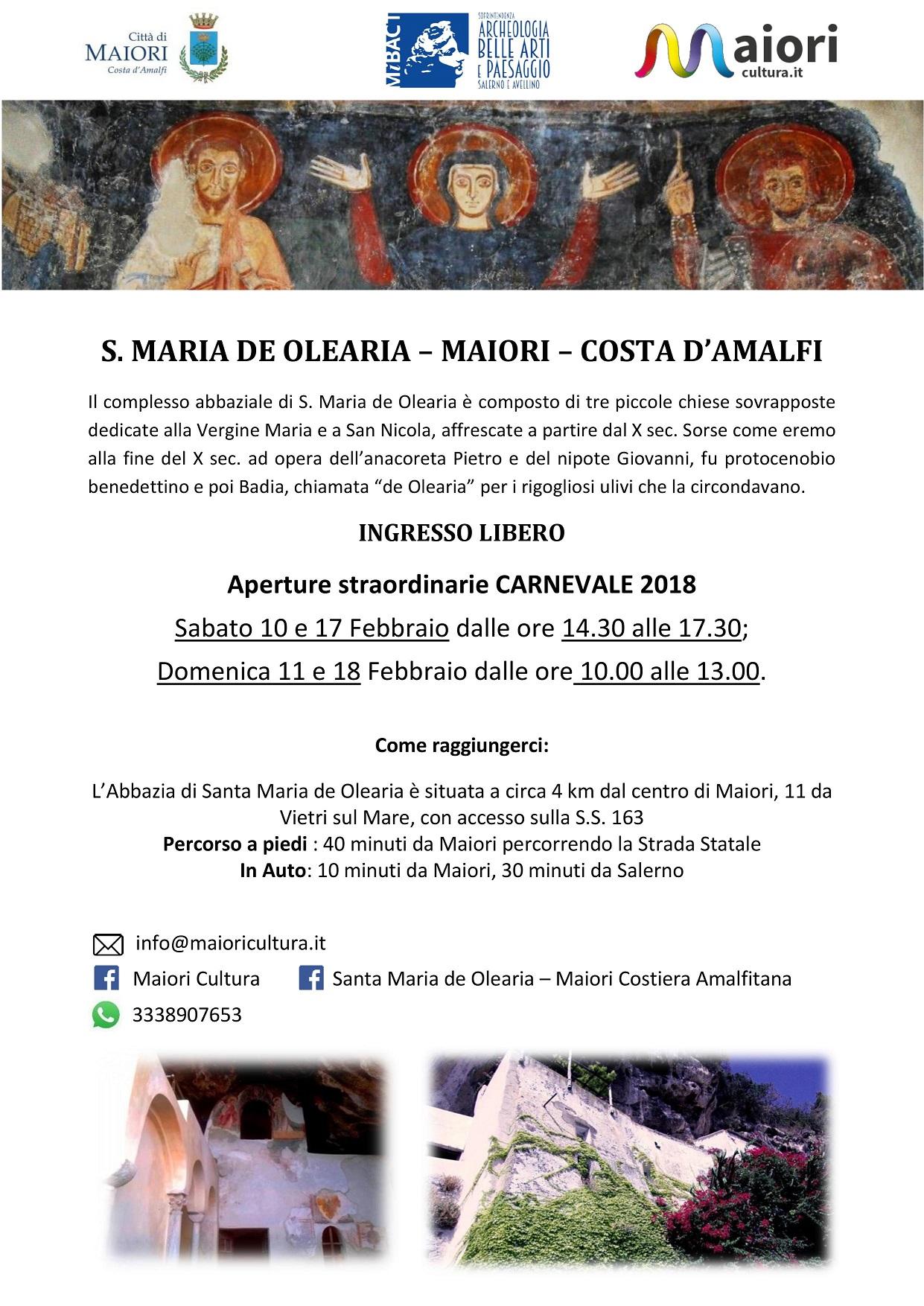 locandina aperture a Santa Maria de Olearia a Maiori