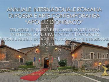Comunicato Annuale Internazionale di Poesia e Arte Contemporanea Apollo dionisiaco Roma 2020